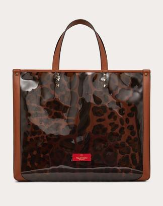 Valentino Small Leopard Print Tote Bag Women Silver 100% Pelle Di Vitello - Bos Taurus OneSize