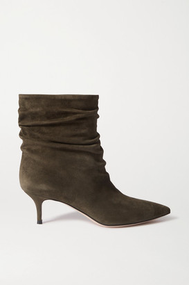 Gianvito Rossi Cecile 55 Ruched Suede Ankle Boots - Army green