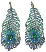 Kenneth Jay Lane Large Aqua Crystal Feather Drop Earrings