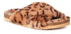 Calistoga Womens Crisscross Fluffy Slide Slippers
