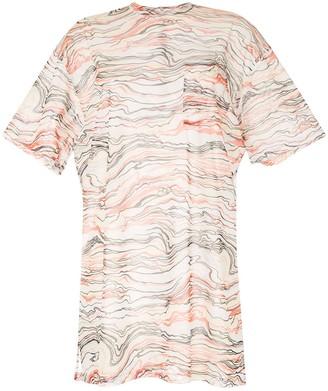 G.V.G.V. printed mesh half-sleeve top