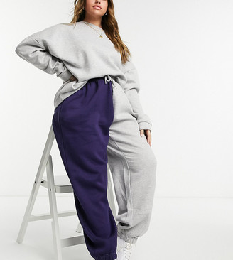 Daisy Street Plus relaxed trackies in colour block co-ord