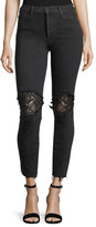 Mother Super Stunner Ankle Fray Skinny-Leg Jeans w/ Lace Rip Knees