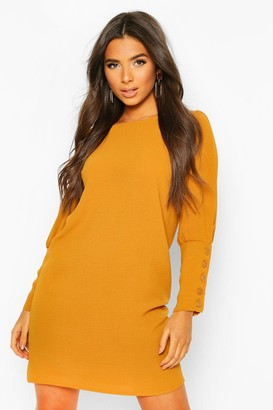 boohoo Woven Button Cuff Mini Shift Dress