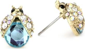 """Betsey Johnson Iconic Enchanted Garden"""" Crystal Bug Stud Earrings"""
