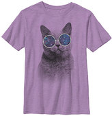 Fifth Sun Neon Purple Heather Space Out Kitty Tee - Boys