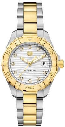 Tag Heuer Steel, Yellow Gold and Diamond Ladies Aquaracer Watch 32mm