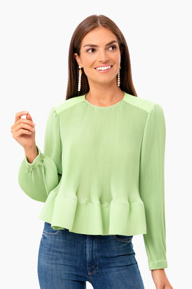 Tibi Pleating Long Sleeve Yoked Pleated Top