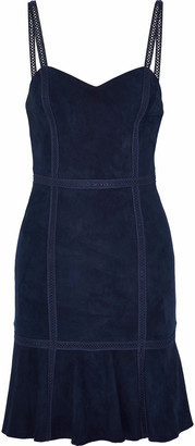 Alice + Olivia Desmond Crochet-trimmed Suede Mini Dress