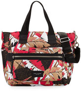 Marc by Marc Jacobs Biker Leather-Trim Nylon Babybag, Pink/Multicolor