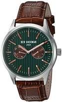Ben Sherman Men's 'Spitalfields Social' Quartz Stainless Steel and Leather Watch, Color: Brown (Model: WB024BRA)