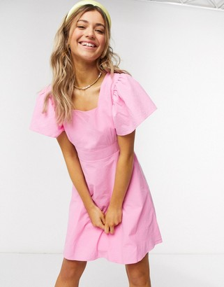 Qed London square neck mini dress in pink