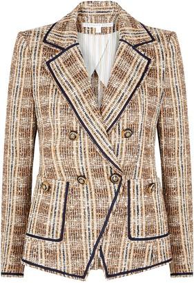 Veronica Beard Theron checked boucle tweed blazer