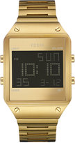 GUESS Men's Digital Gold-Tone Bracelet Watch 55x38mm U0596G3