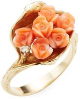 Estate Fine Jewelry Women's Cluster of Flowers Coral Ring