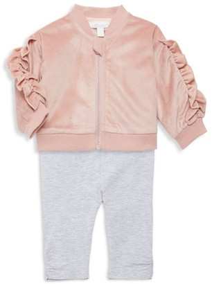 Miniclasix Baby Girl's 3-Piece Ruffle Bomber Jacket, T-Shirt & Leggings Set