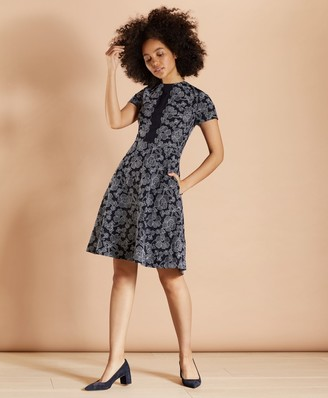 Brooks Brothers Floral-Embroidered A-Line Dress
