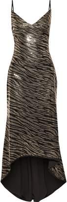 Black Halo Eve By Laurel Berman Armelle Asymmetric Sequined Zebra-print Stretch-jersey Gown