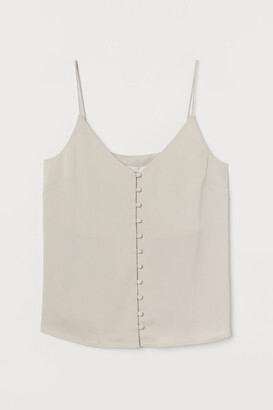 H&M Buttoned V-neck Camisole Top - Beige