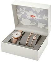 Fossil Tailor Rose Goldtone Watch and Bracelet Set