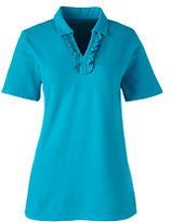 Classic Women's Ruffle Placket Mesh Polo-True Navy