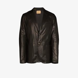Ajmone Seta single-breasted leather blazer