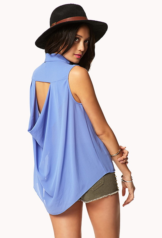 Forever 21 Draped Cutout Back Shirt