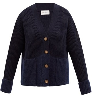 Moncler Two-tone Ribbed Wool-blend Cardigan - Navy