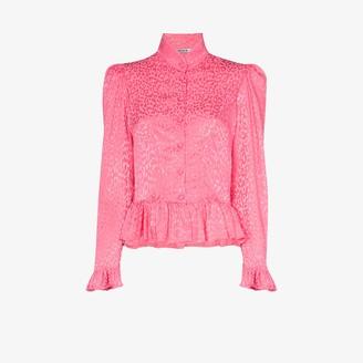 Batsheva Grace ruffle peplum leopard print blouse