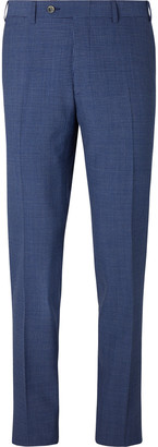 Canali Slim-Fit Pleated Checked Wool-Blend Seersucker Suit Trousers