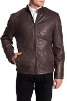 Ungaro Genuine Lamb Leather Mock Neck Front Zip Jacket