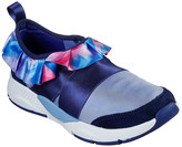 Skechers Girls' Sneakers BLMT - Blue Metallic Shine Status Ruffled Up Slip-On Sneaker - Girls