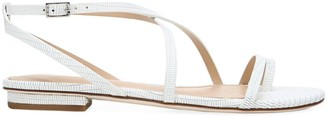 Via Spiga Calandre Lizard-Embossed Leather Strappy Flat Sandals