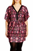 City Chic Plus Size Women's 'Tile Trim' Print Belted V-Neck Tunic