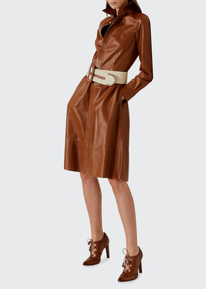 Ralph Lauren Collection Annalise Belted Leather Shirtdress