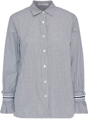 Stateside Ruffle-trimmed Striped Cotton-broadcloth Shirt