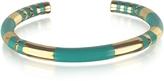 Aurelie Bidermann 18K gold-plated & Emerald Green Enamel Resin Positano Striped Bangle