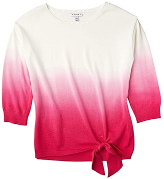 Tribal 3/4 Sleeve Dip-Dye Sweater (Hot Pink) Women's Clothing