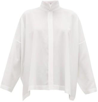eskandar Mandarin-collar Silk Crepe De Chine Shirt - White