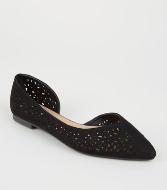 New Look Suedette Laser Cut Pointed Ballet Pumps