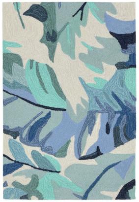 "Liora Manné Capri Palm Leaf Indoor/Outdoor Rug, Blue, 24""x36"""