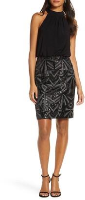 Vince Camuto Halter Neck Geo Embellished Blouson Dress