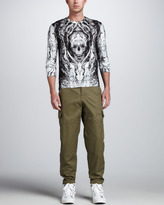 Alexander McQueen Skull-Print Long-Sleeve Tee, White/Gray