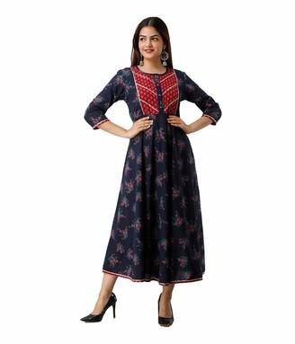 Dream Angel Fashion Womens Cotton Floral Printed Anarkali Kurti (Blue X-Large-40)
