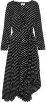 Zimmermann Asymmetric Polka-dot Crepe Wrap Midi Dress - Black