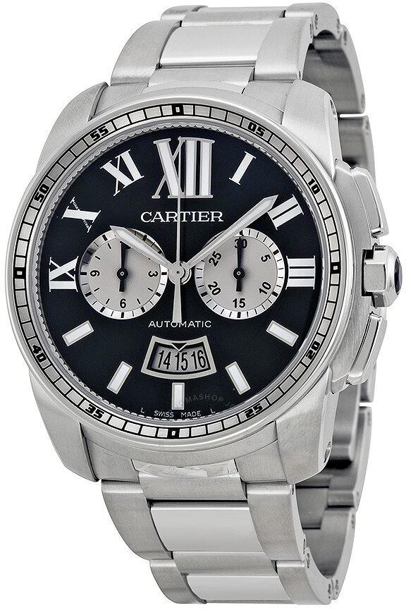 Cartier Calibre De Black Dial Stainless Steel Men's Watch