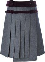 Carven belt detail pleated skirt - women - Cotton/Acetate/Viscose/Wool - 38