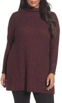 Sejour Mock Neck Rib Knit Tunic (Plus Size)