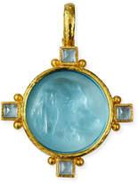 Elizabeth Locke 19k Gold Hound Head Intaglio Pendant with Aquamarine