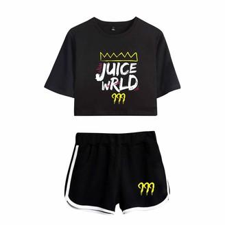 URMOSTIN Women's Tracksuits Juice Wrld Print Girl's Summer Crop Tops and Shorts T-Shirt Suits Casual Sportswear Pajamas Yoga Clothes Black